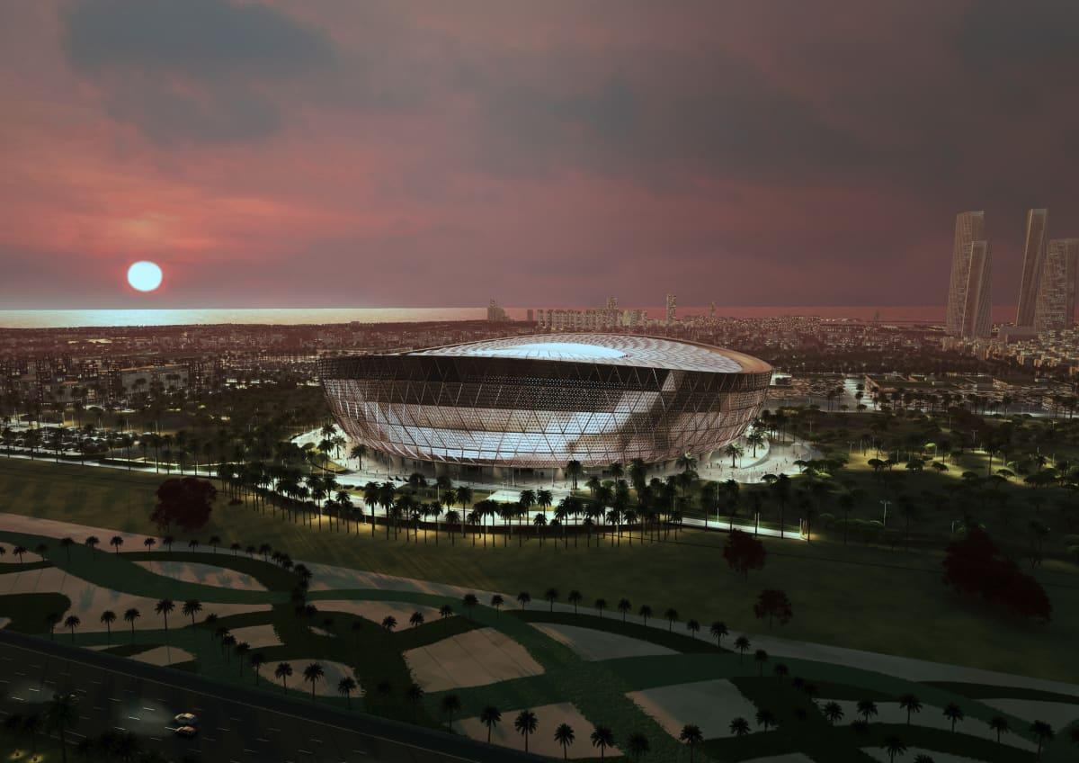 Haivannekuva Qatarin jalkapallon MM-kisojen finaalistadionista Lusailista.