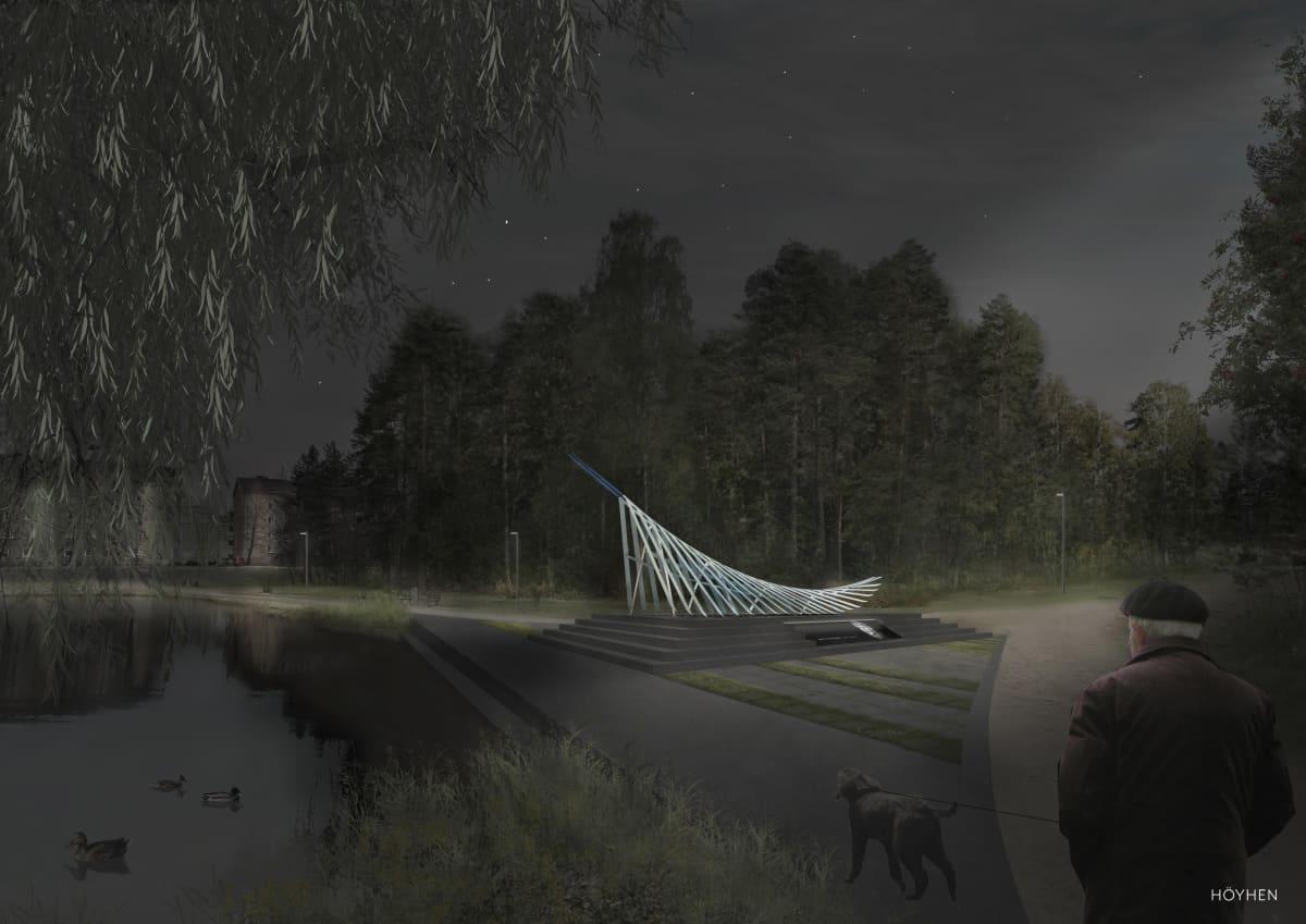 Havainnekuva Matti Nykäsen Höyhen -muistomerkistä Köyhälämmen rannalla yöllä.