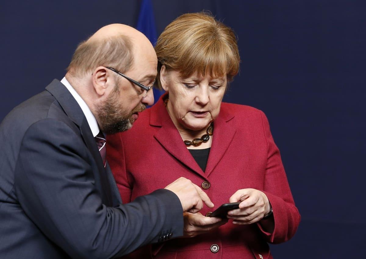 Martin Schulz ja liittokansleri Angela Merkel