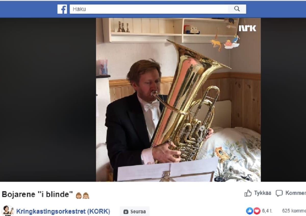 Kuvakaappaus Norjan radion sinfoniaorkesterin Facebook-esityksestä 20.3.2020.