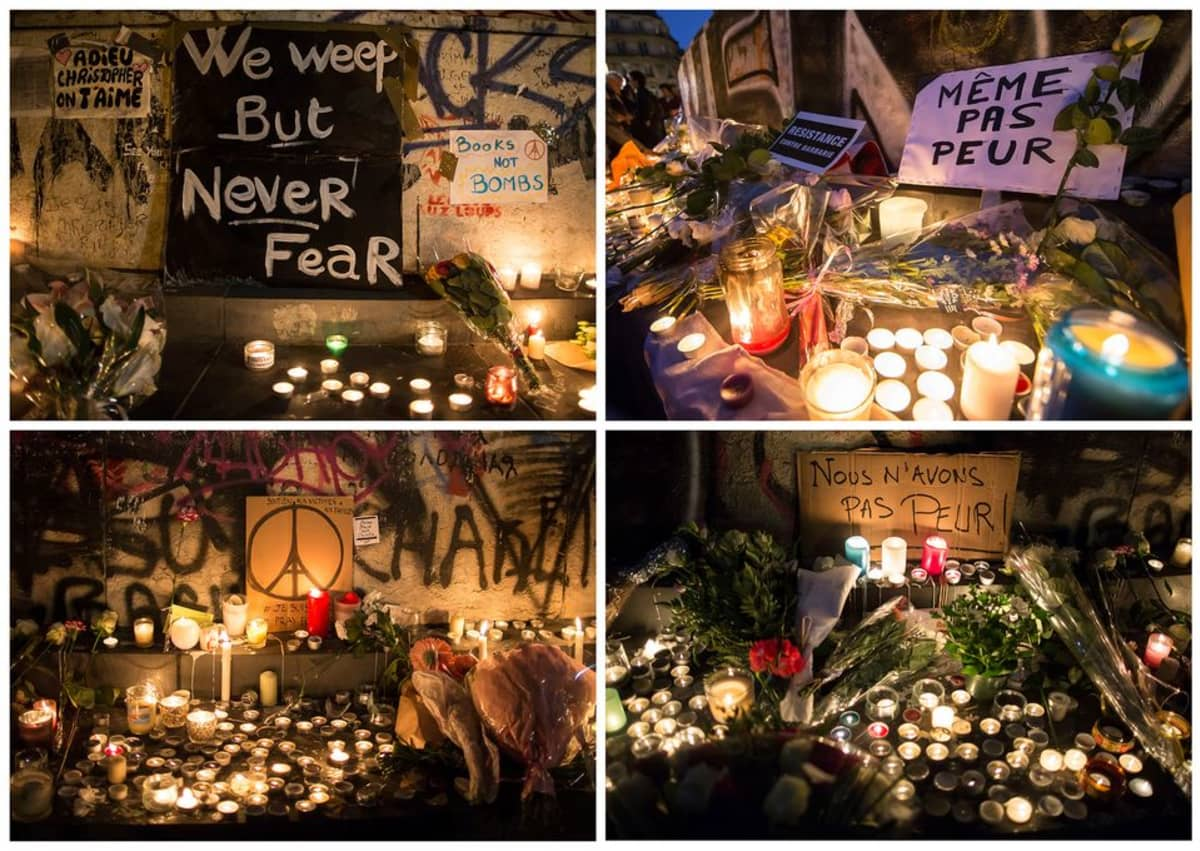Kuvakoosteessa muistopaikkoja Pariisissa, joihin ihmiset ovat tuoneet kukkia ja kynttilöitä.