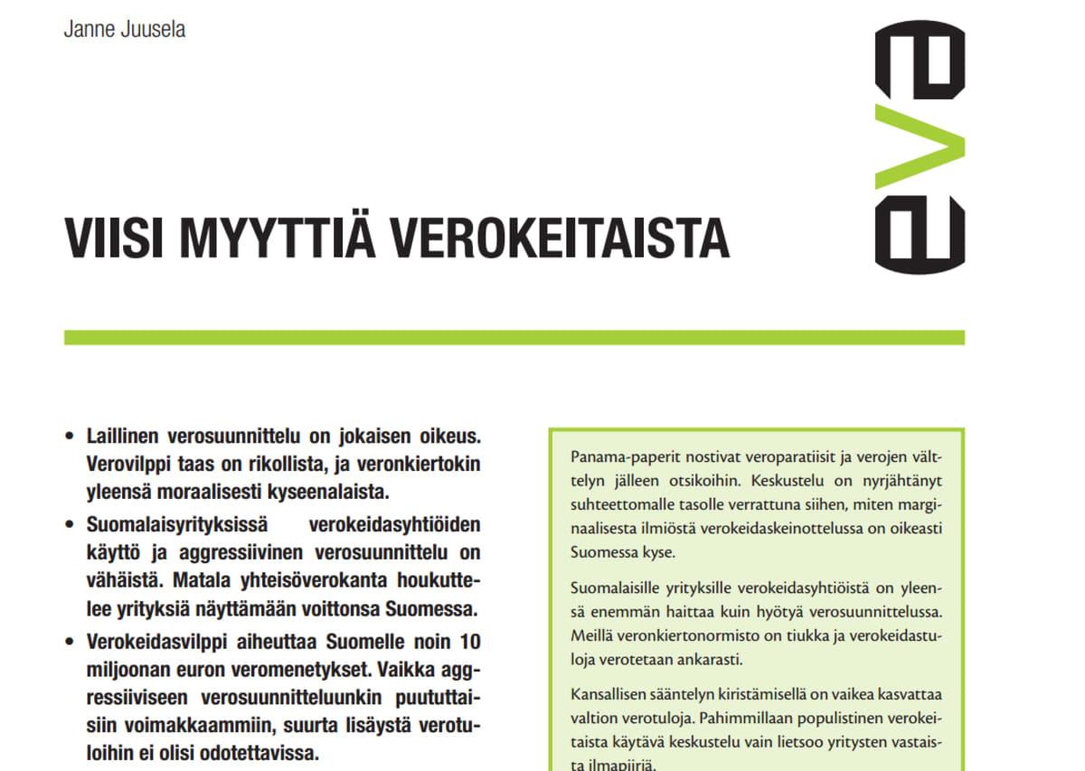Kuvankaappaus Eva:n julkaisemasta veroparatiiseja käsittelevästä raportista.