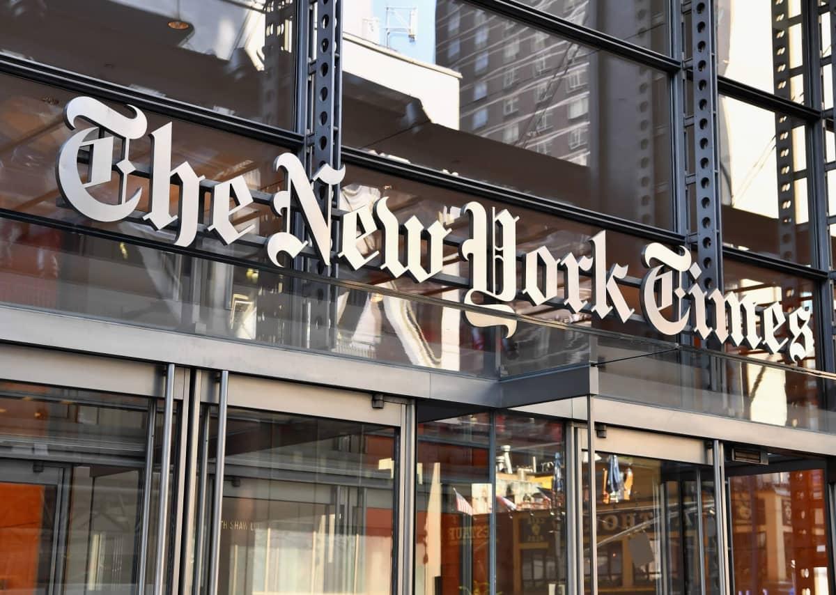 New York Times -rakennuksen sisäänkäynti syyskuussa 2018.
