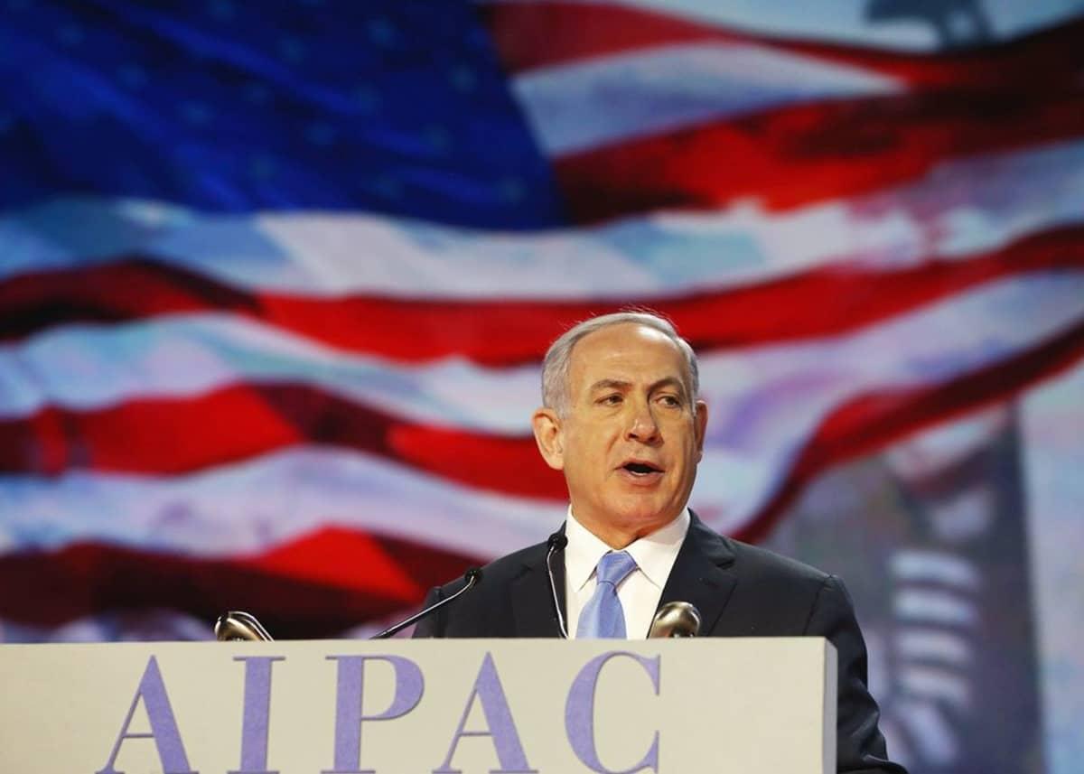 Israelin pääministeri Benjamin Netanjahu puhui Washingtonissa 2. maaliskuuta.