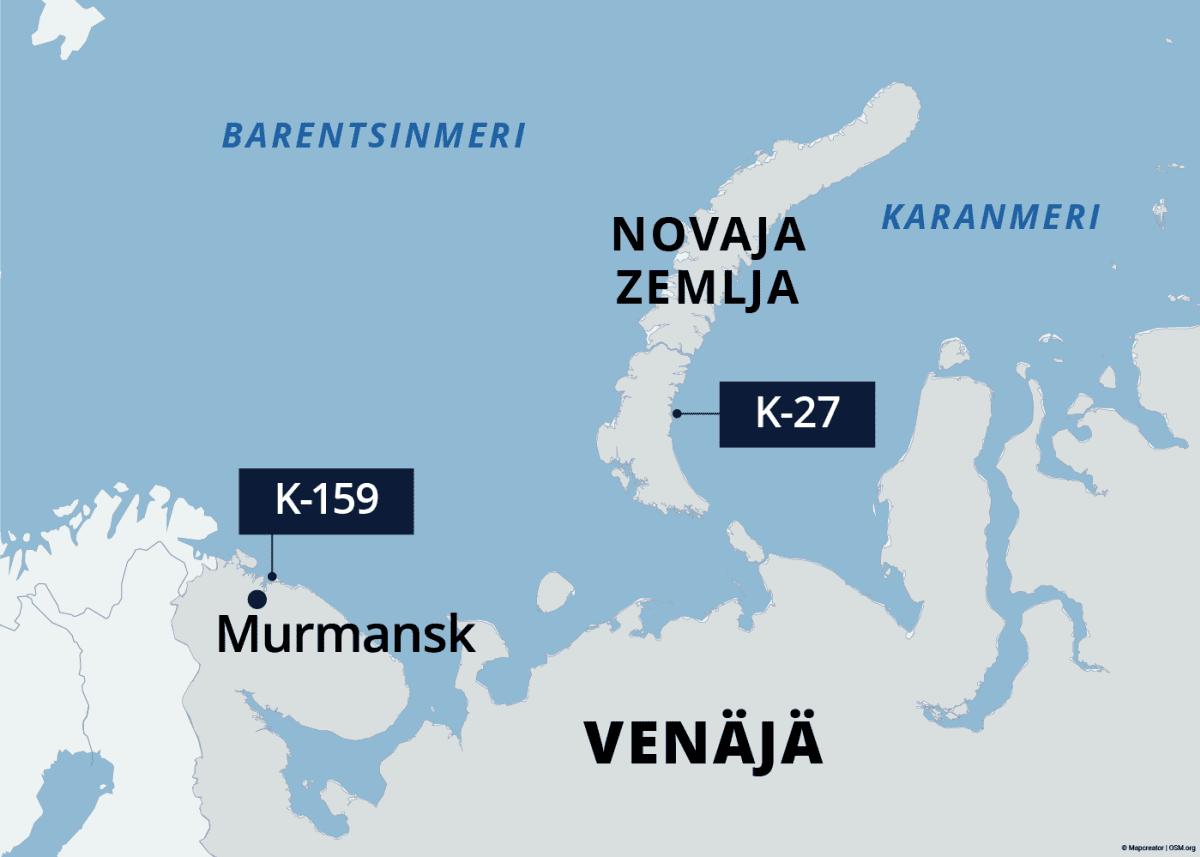 Kartalla upoksissa olevien sukellusveneiden K-159 ja K-27 sijainnit Barentsinmerellä.