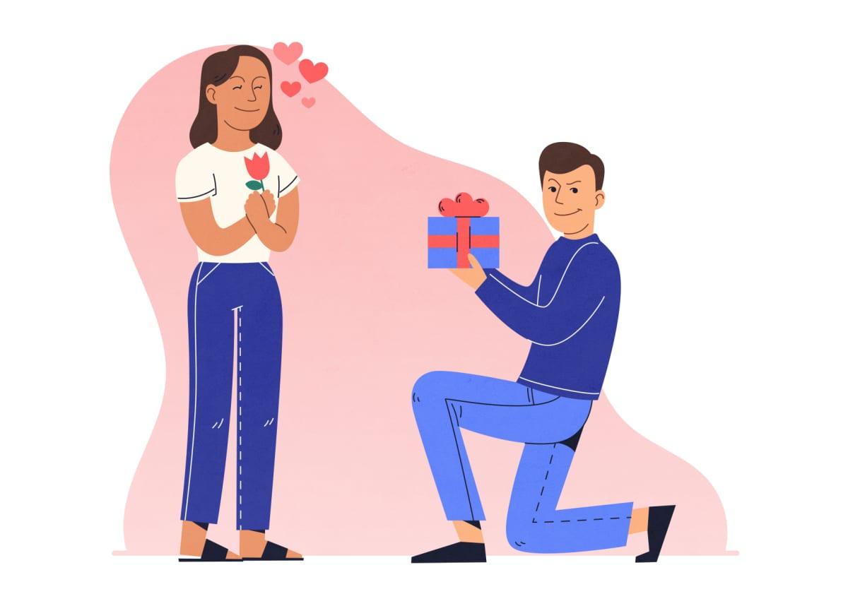 Piirretty kuva, jossa viekas mies ojentaa lahjaa rakastuneelle naiselle.