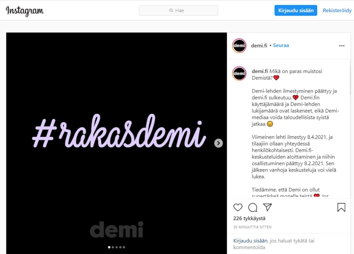 Rakas Demi Instagram-sivu.