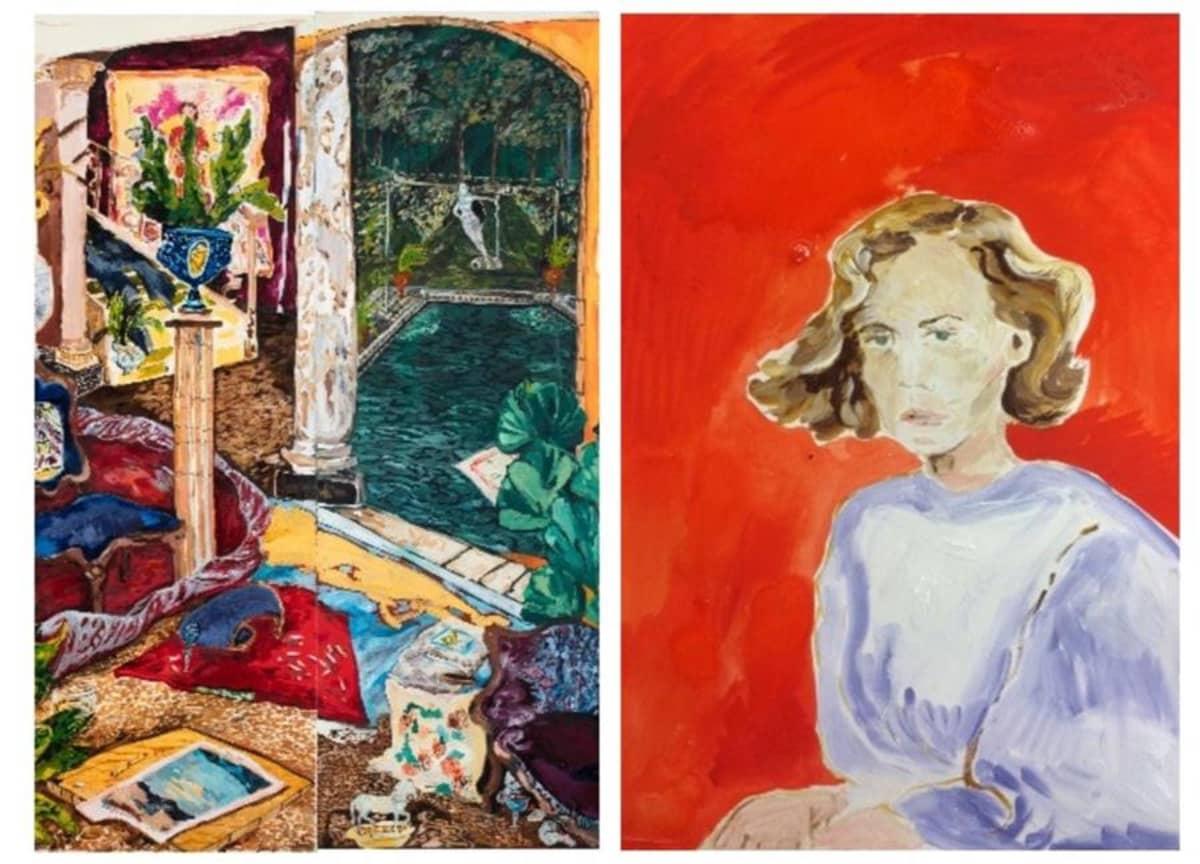 Karoliina Hellbergin maalaukset Ingrid, 2017 ja Amerikkalaisnainen, 2015.