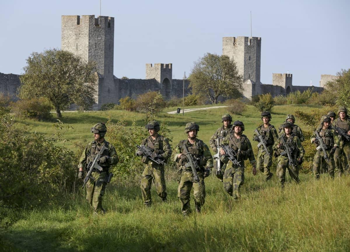 Joukko maastopukuisia sotilata ruohikossa. Taustalla Visbyn kaupungin muuri.