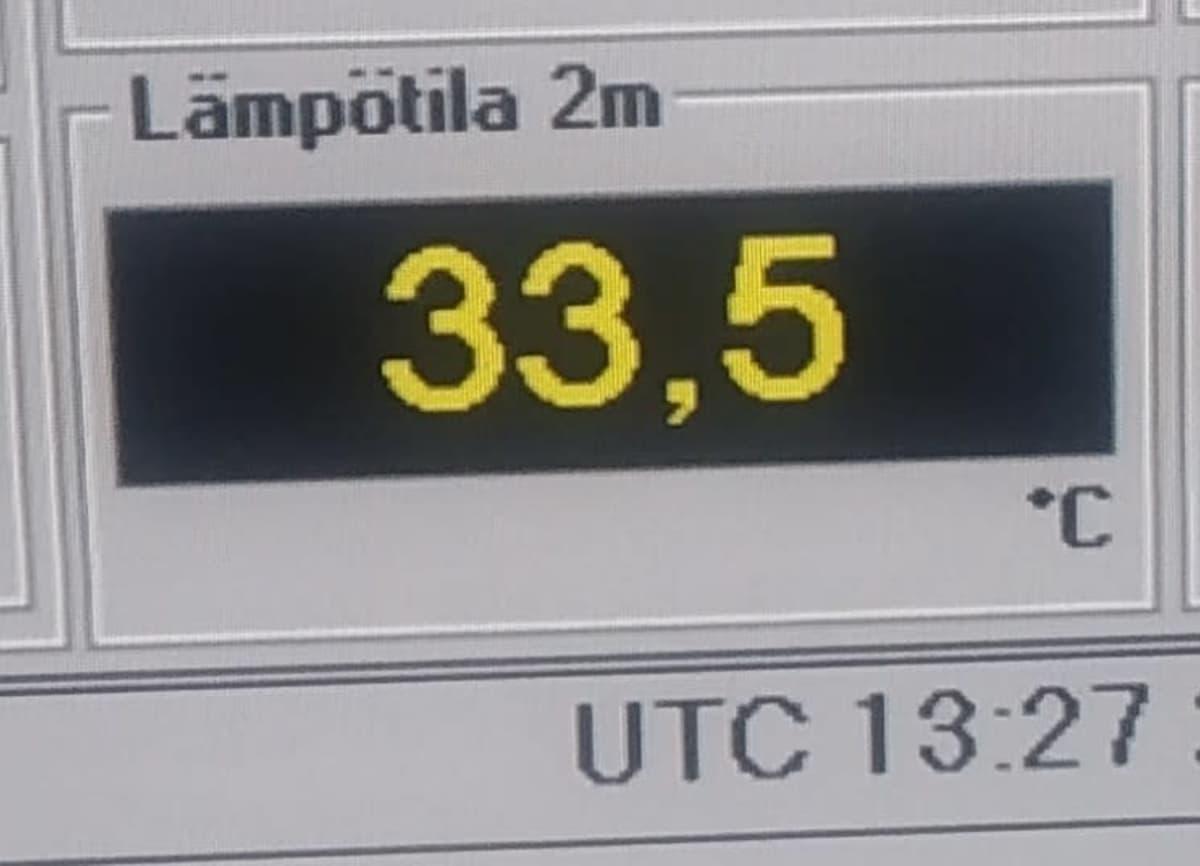 33,5 lämpötila Niinisalon varuskunnan mittarissa