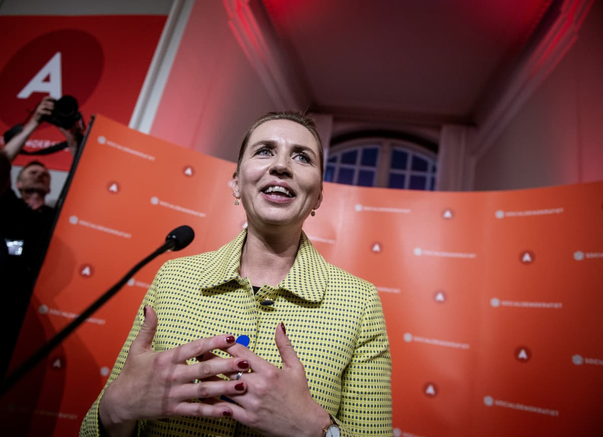 Sosiaalidemokraattien Mette Frederiksen juhli Tanskan parlamenttivaalien voittoa 5. kesäkuuta.