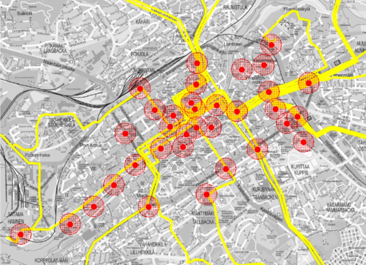 Kartta, johon on sijoitettu Turun kaupunkipyörien alustavat asemapaikat.