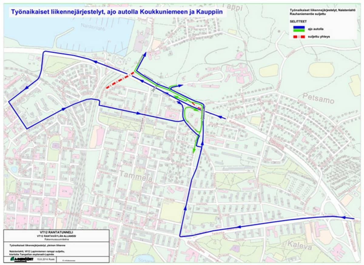 Kartta Rauhanniemen muuttuneista liikennejärjestelyistä