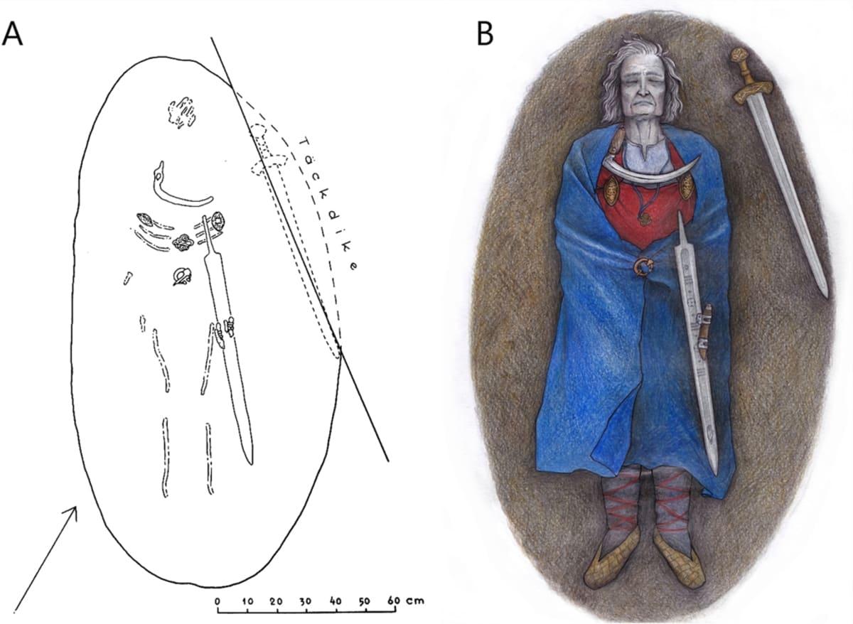 Dokumenttipiirros haudan löytöjen sijainnista ja taitelijan näkemys vainajasta punaisessa hameessa ja sinisessä viitassa, sirppi rinnan päällä ja miekka ja veitsi uumalla. Hänen oikealla puolellaan on toinen miekka.