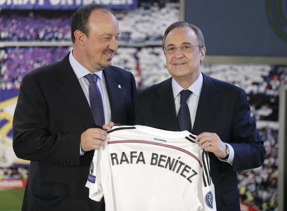 Real Madridin valmentaja Rafael Benitez ja seuran presidentti Florentino Perez.
