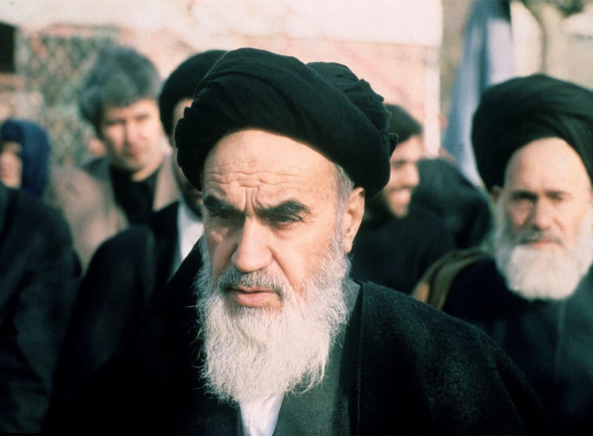Iranin uskonnollinen ja poliittinen johtaja ajatolla Ruhollah Khomeini 31. tammikuuta 1979.