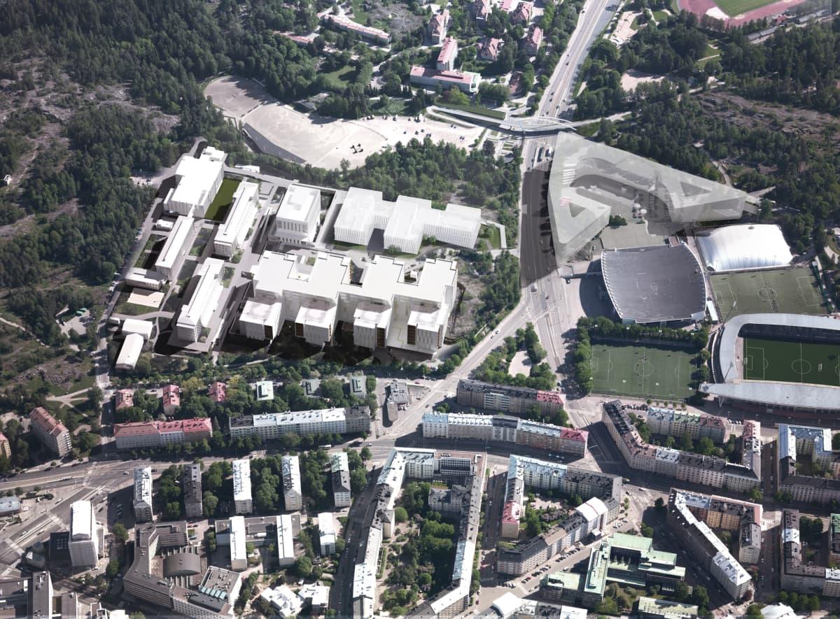 Ilmakuvassa näkyy, miten suunniteltu Laakson yhteissairaalan uusi päärakennus tulisi kaupungin omistamien nykyisten asuintalojen ja päiväkodin päälle.