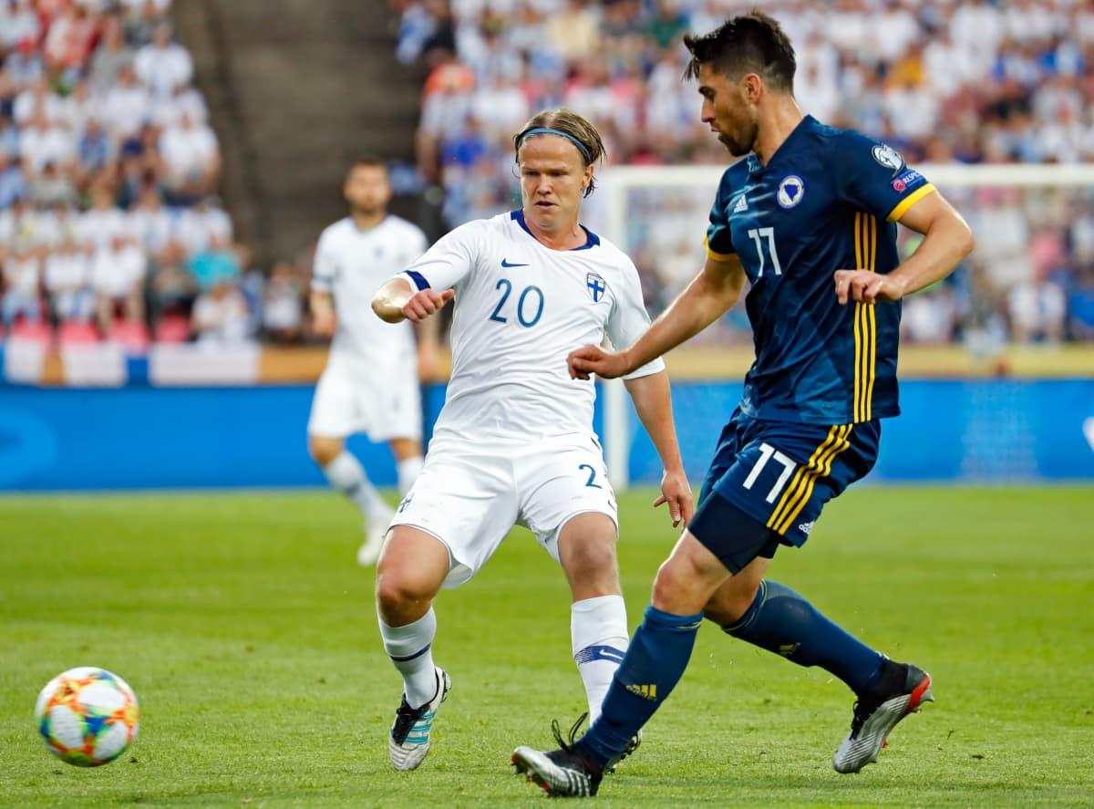 Petteri Forsell Bosnia-Hertsegovinaa vastaan kesäkuussa 2019.