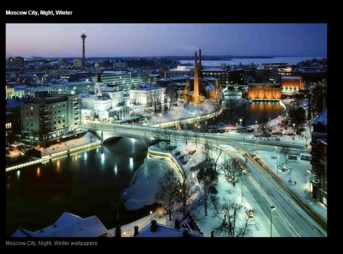 Talvista Tampereen keskustamaisemaa myydään Moskovana