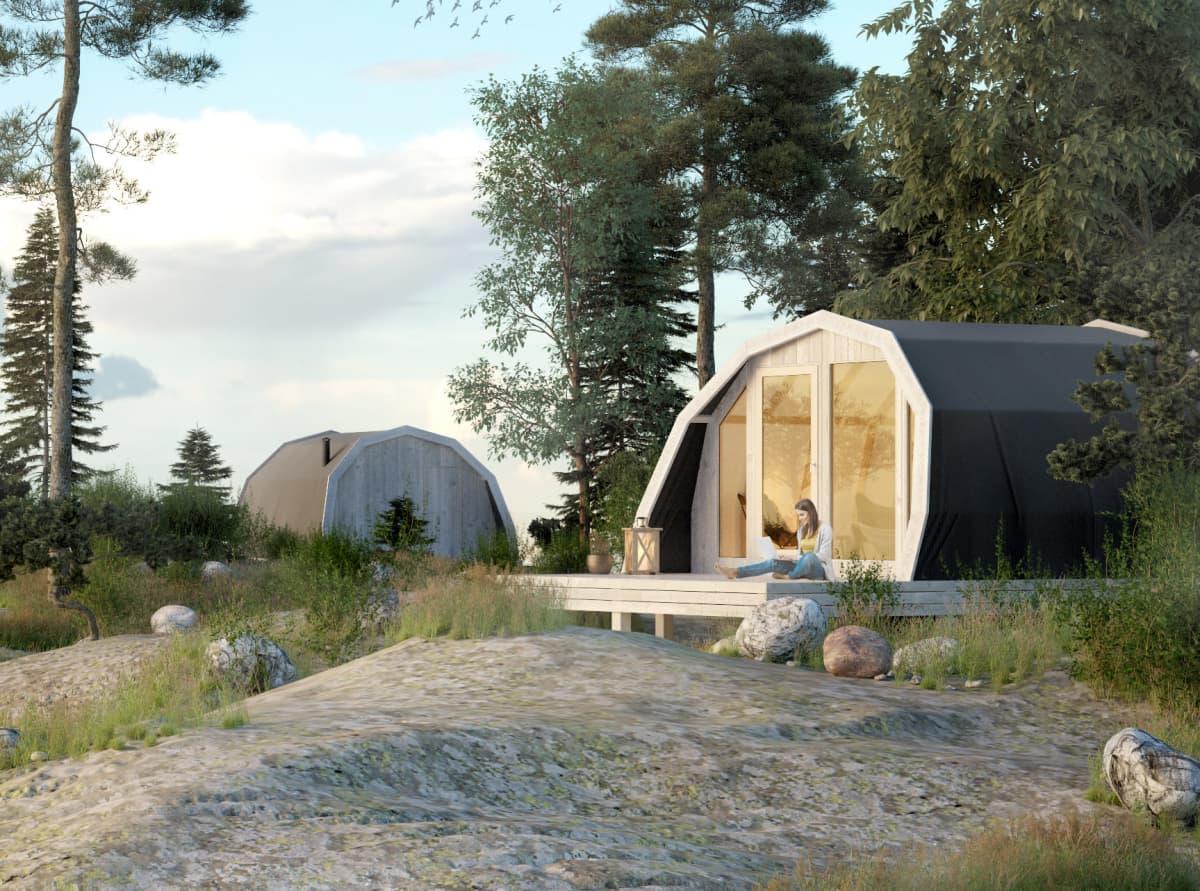 Suomen luontokeskus Haltian naapuriin elokuun alussa avattavan Haltia Lake Lodge- luontohotellin yhteyteen Nuuksion rakentuu viisi Lodge Glamping – telttaa. (Havainnekuva)