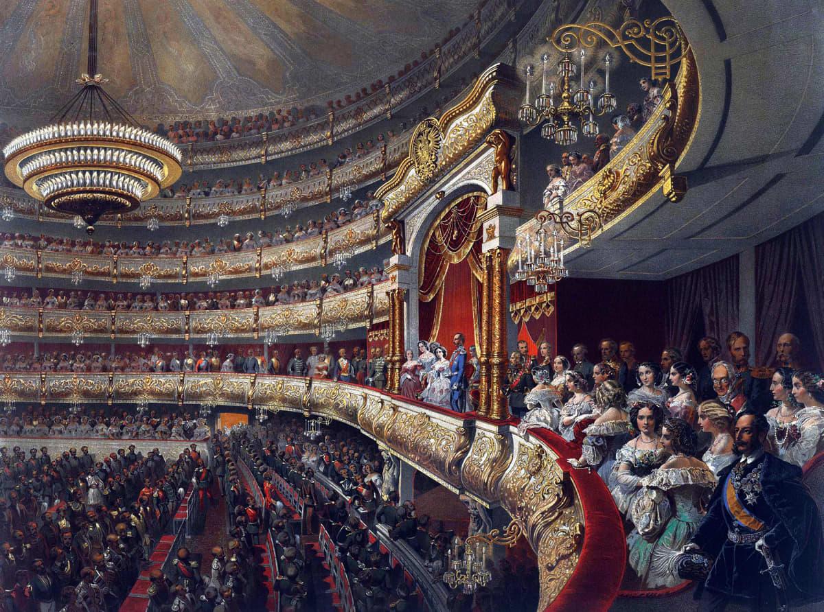 Tsaari Aleksanteri II Bolshoi-teatterissa vuonna 1856, Mihaly Zichyn maalaus.