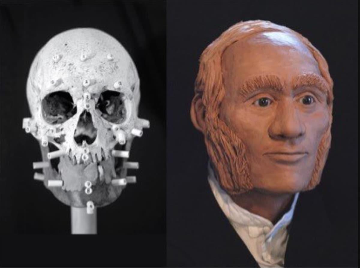 Pääkallo ja 3D-malli punatukkaisen, tuuheapulisonkisen miehen kasvoista.