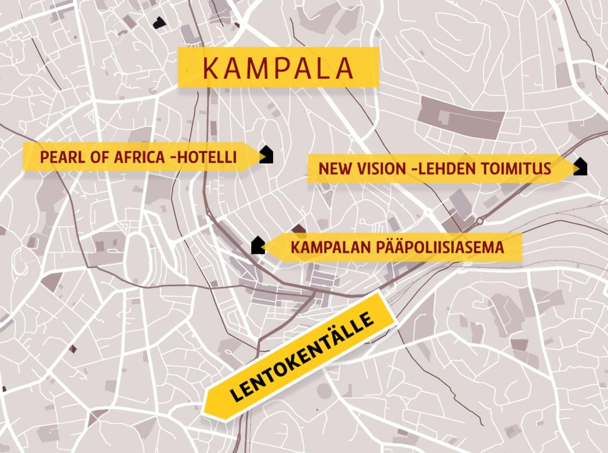 Kartta Ugandan Kampalasta.