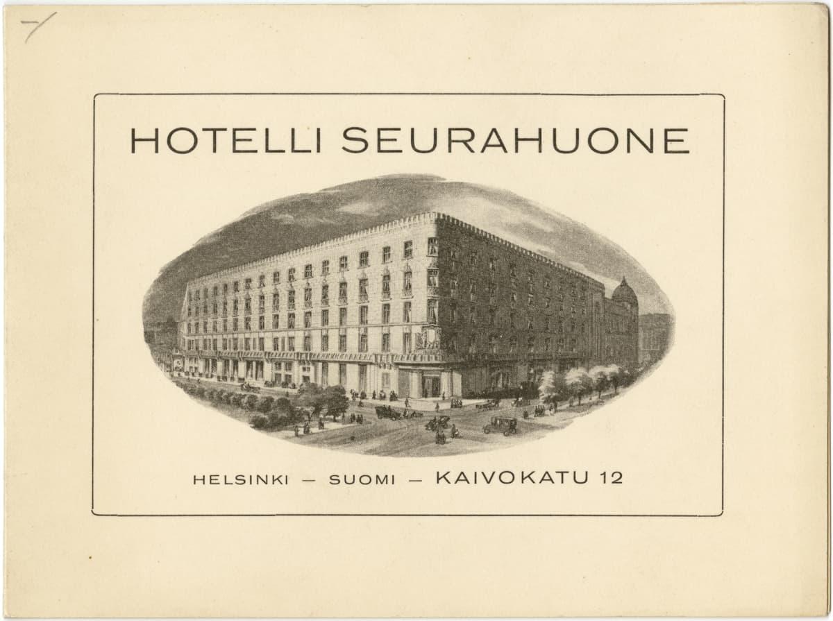 Hotelli Seurahuoneen kortti.