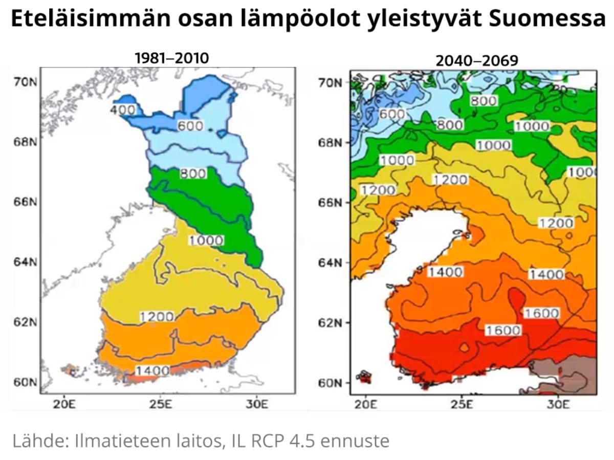 Lämpösummakartat Suomesta.