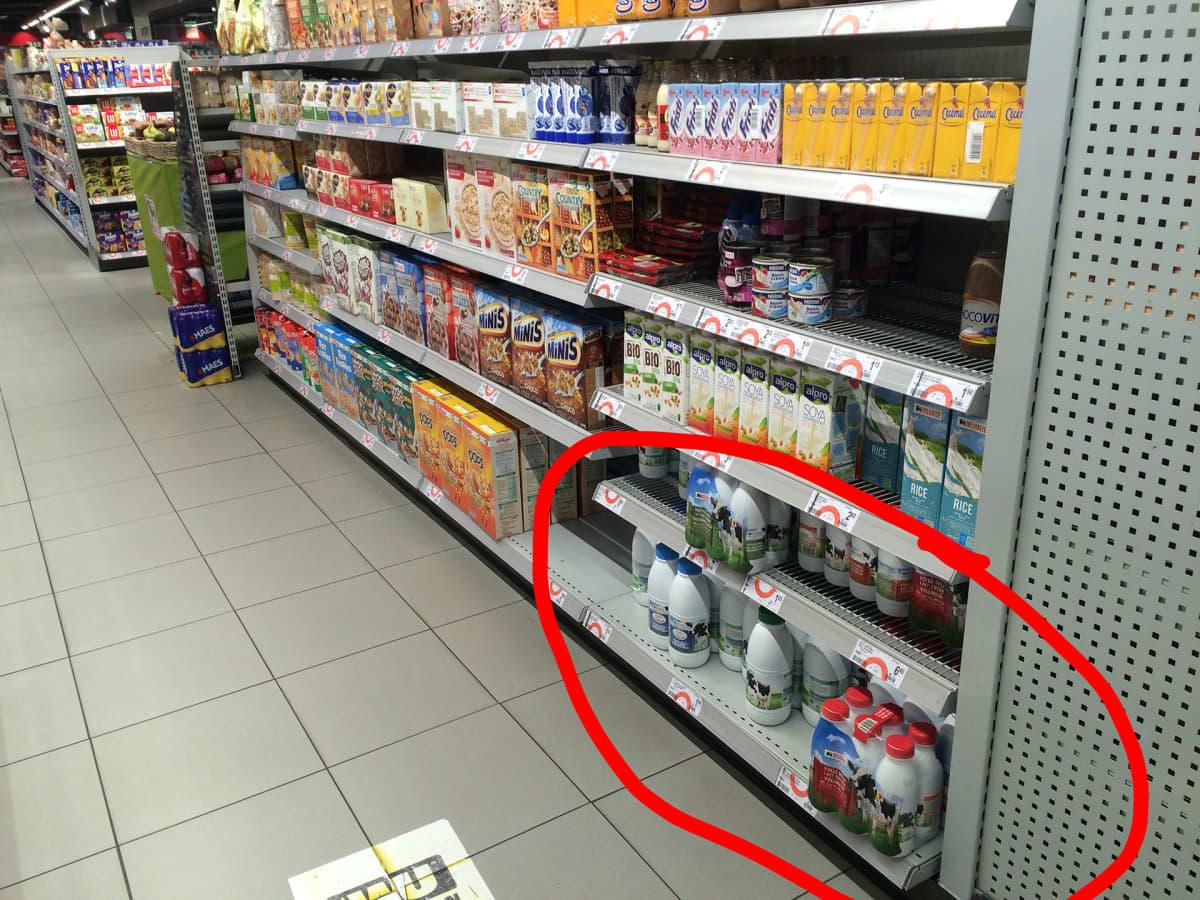 Maitohylly saksalaisessa kaupassa.