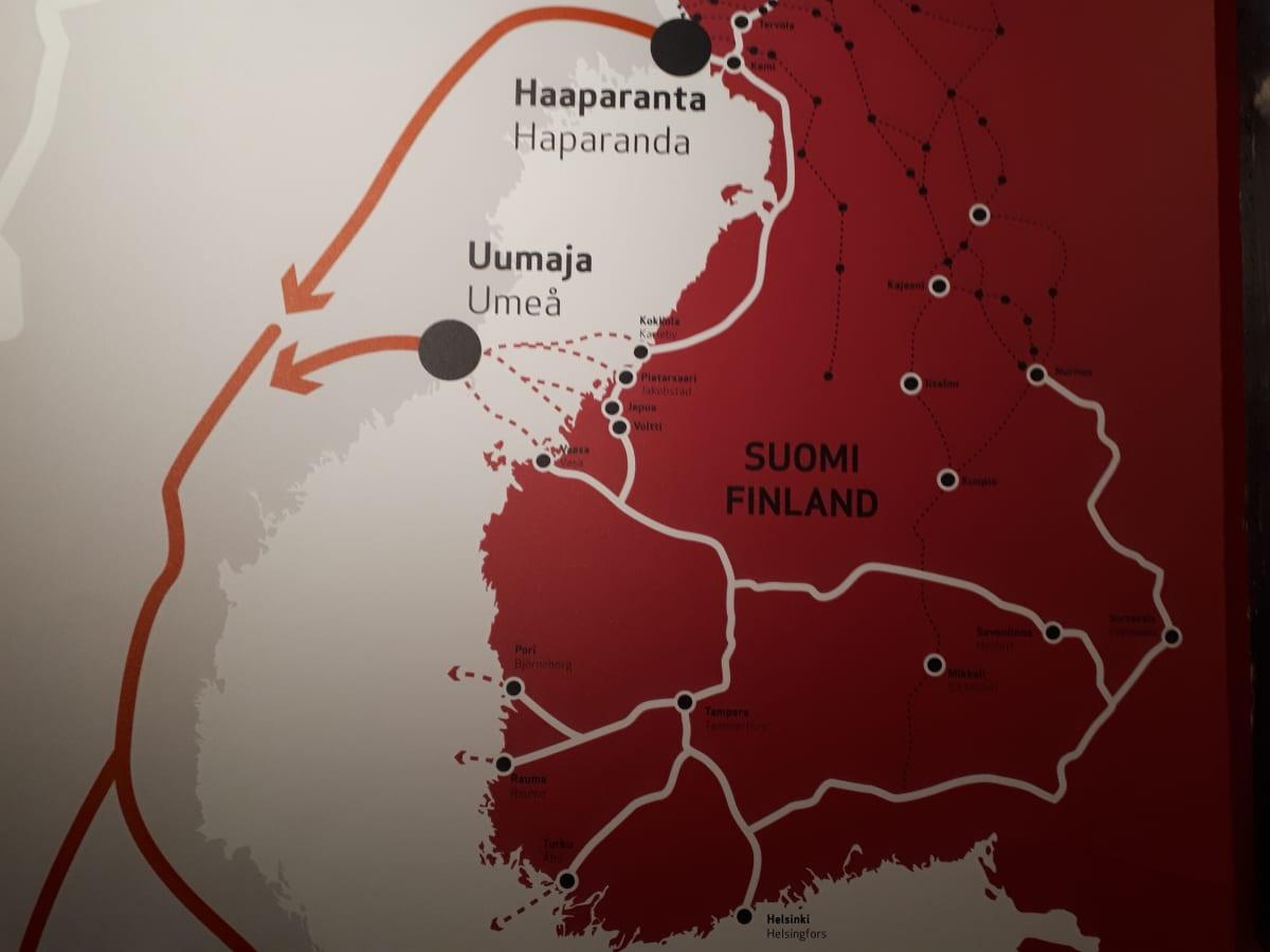 Jääkärit lähtivät vaaralliselle matkalle Haaparannan kautta ja Merenkurkun yli.