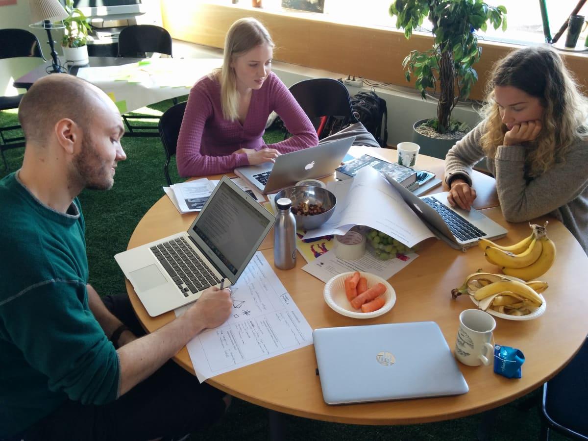 Kolme opiskelijaa istuu pyören pöydän ääressä. Pöydällä heidän edessään on kannettavat tietokoneet ja astioissa banaaneja, porkkanoita, viinirypäleitä ja pähkinöitä.