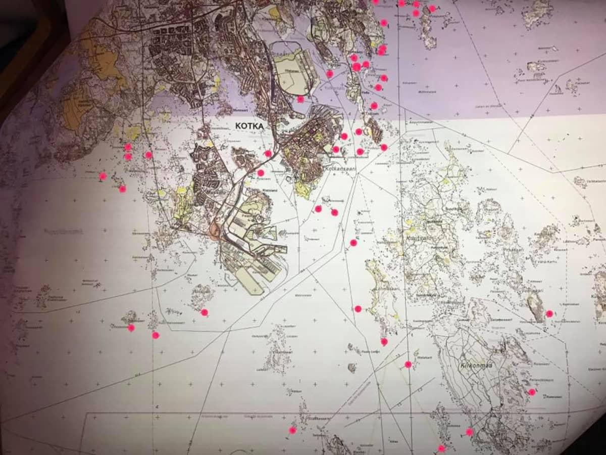 karttakuva rysistä Kotkan edustalla