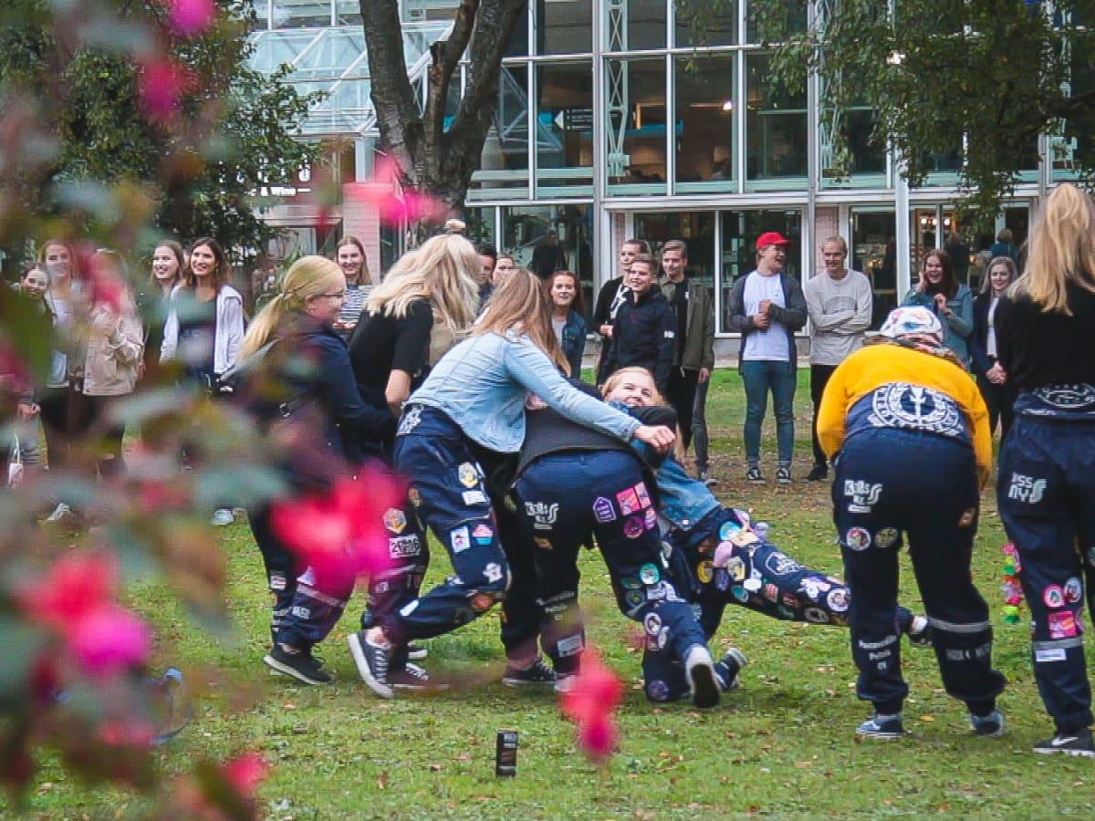 Opiskelijat pelaavat Sorsapuistossa