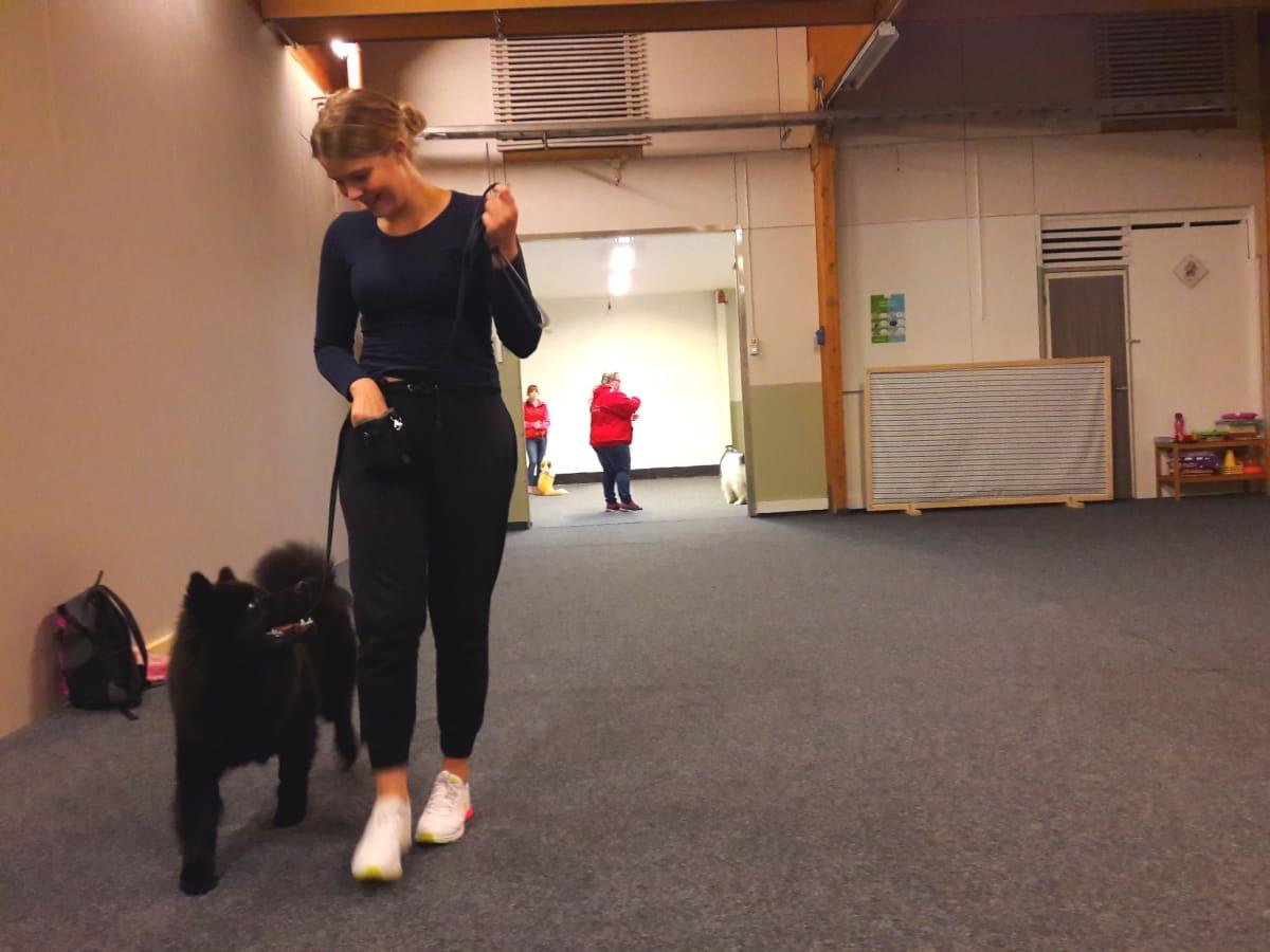 Jenni Niemelä ja Kelvin-koira koulutustreeneissä Kotkassa.
