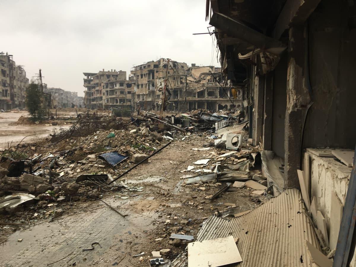 Raunioita Harastassa.
