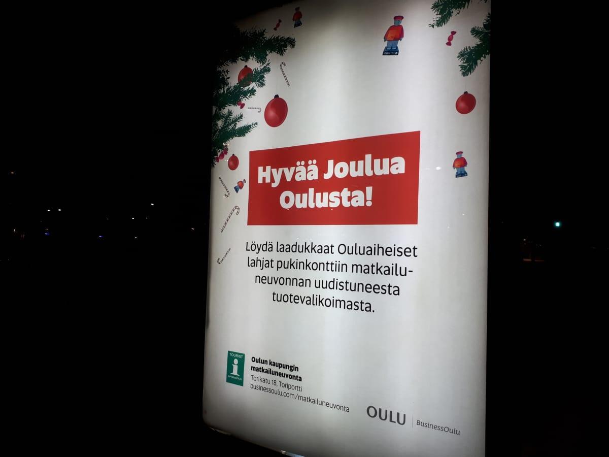 Oulun kaupungin matkailupalveluiden ulkomainos.