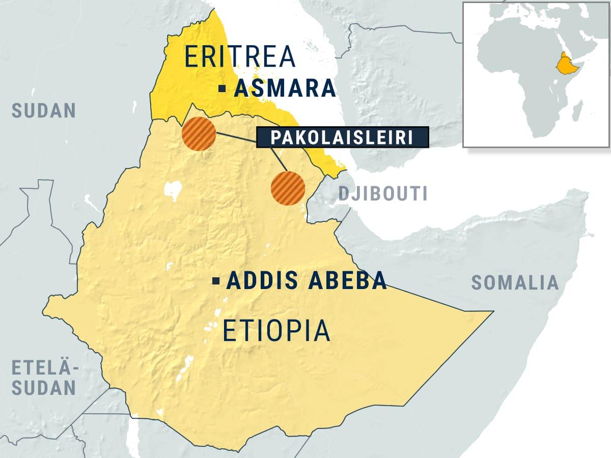 Kartta, jossa Eritrea ja Etiopia korostettuna, Etiopian puolella kaksi pakolaisleiriä merkittynä