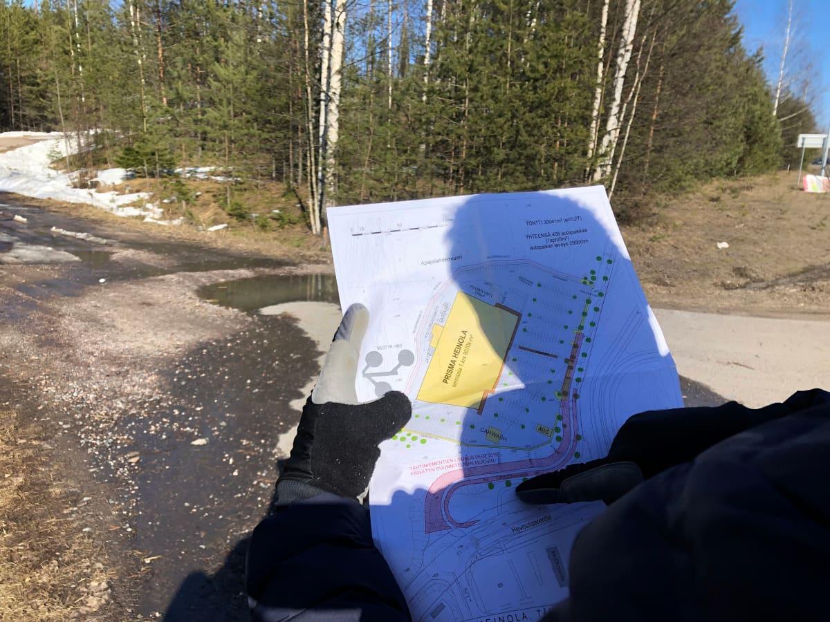 Karttaluonnos asemakaavamuutoksesta ja Prisman sijoittumisesta Tähtiniemeen