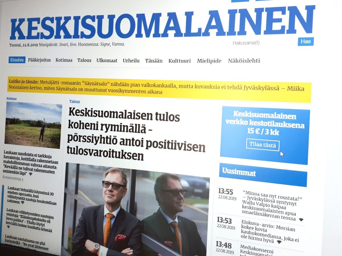 Keskissuomalaisen verkkoetusivu.