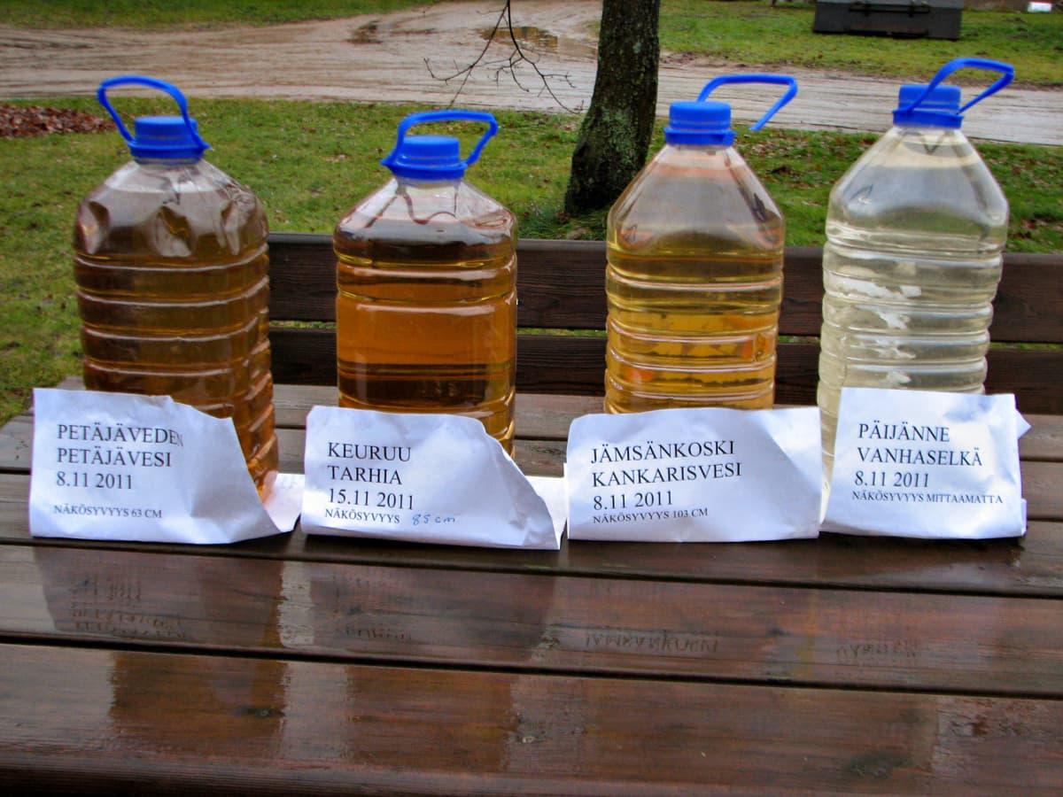 Vesinäytteitä eri järvistä.