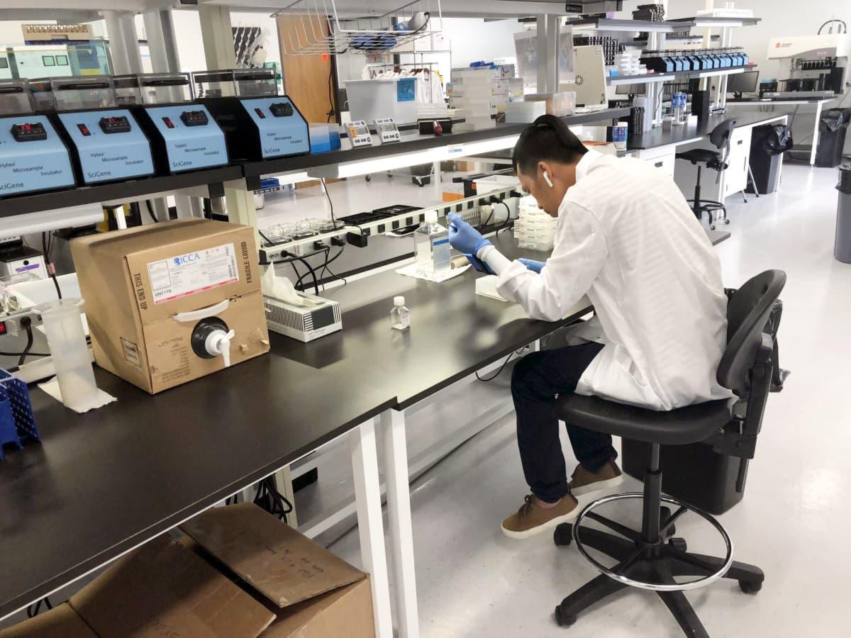 DNA-näytteiden tutkimista yhdysvaltalaisessa FamilyTree-yrityksessä Houstonissa Teksasissa.