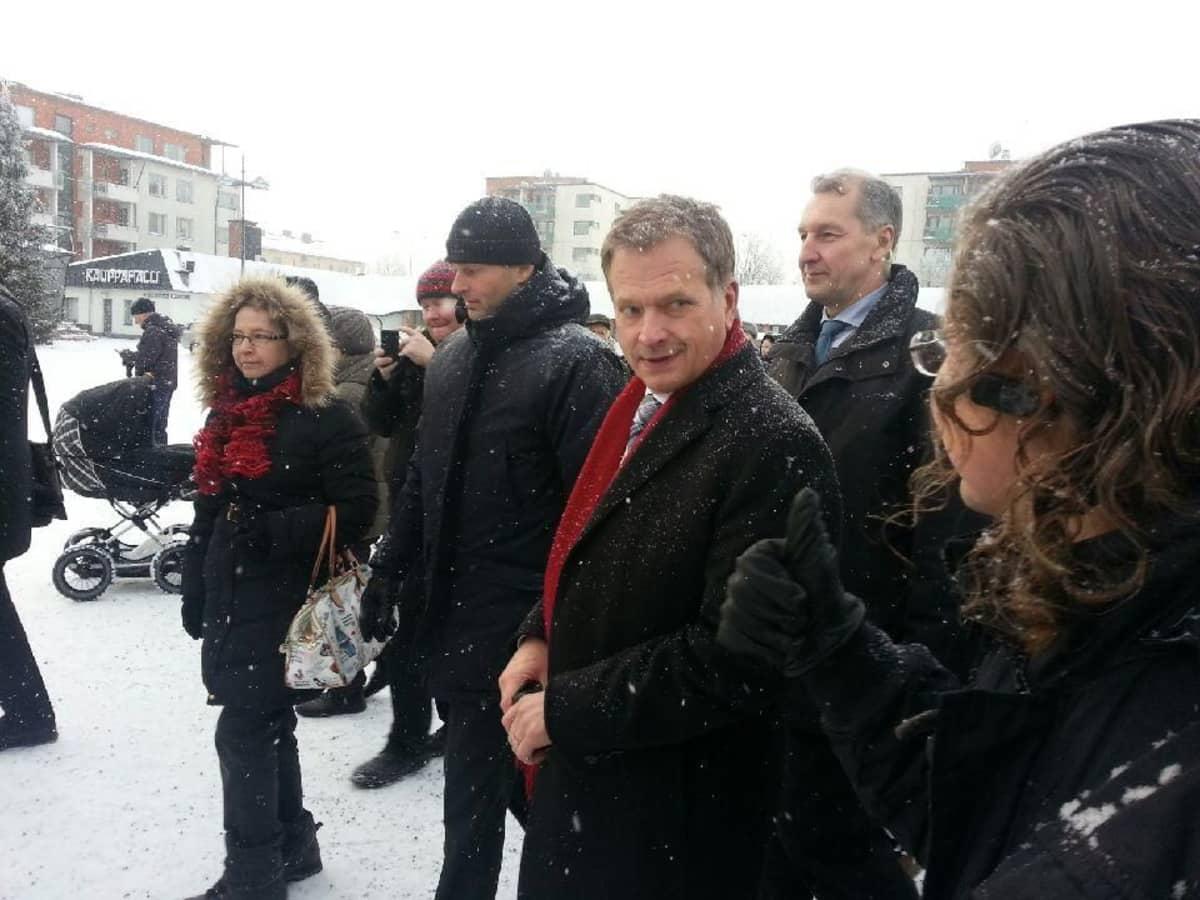 President Niinistö in Lappeenranta's market square on Jan. 16