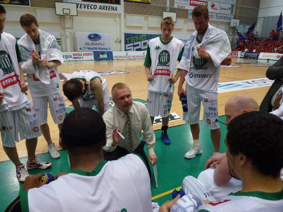 KTP:n päävalmentaja Sami Toiviainen neuvoo pelaajiaan aikalisällä.