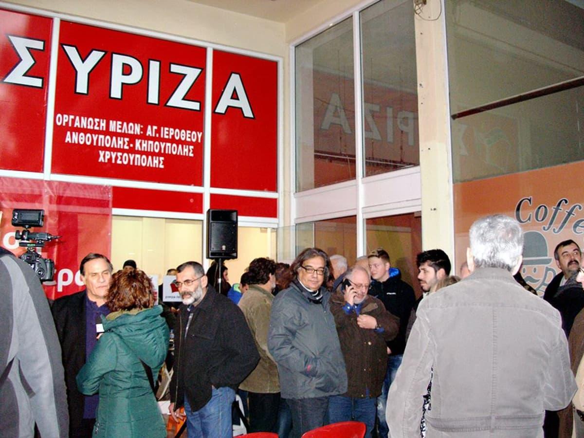Äärivasemmistolainen Syriza avasi vaalitoimiston Länsi-Ateenan Peristerissä.