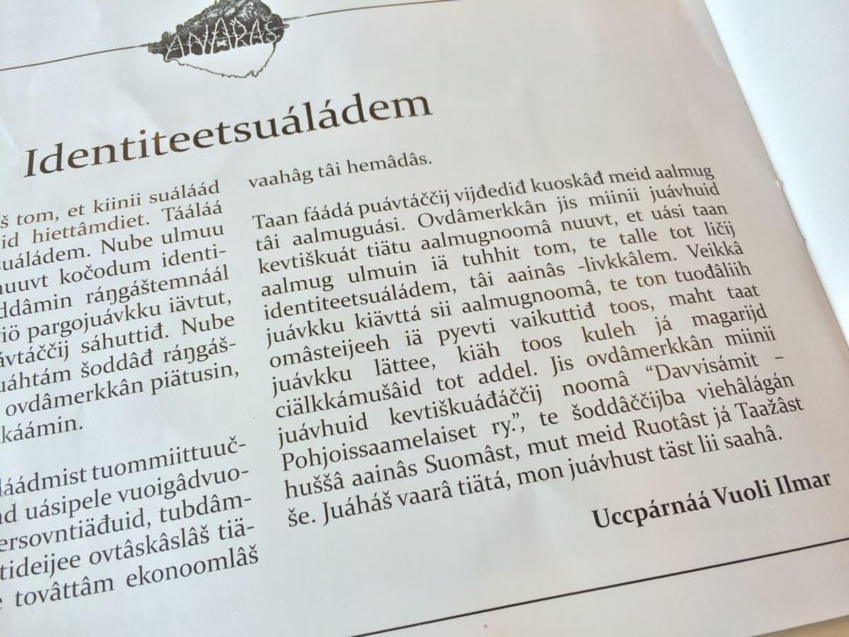 Ilmari Mattus čaalij Anarâš-loostan identiteetsuáláádmist.