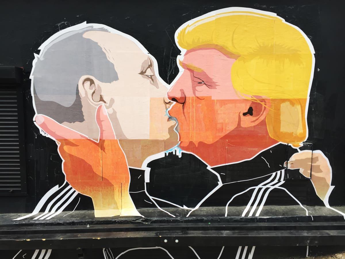 Vladimir Putin ja Donald Trump Mindaugas Bonanun seinämaalauksessa.