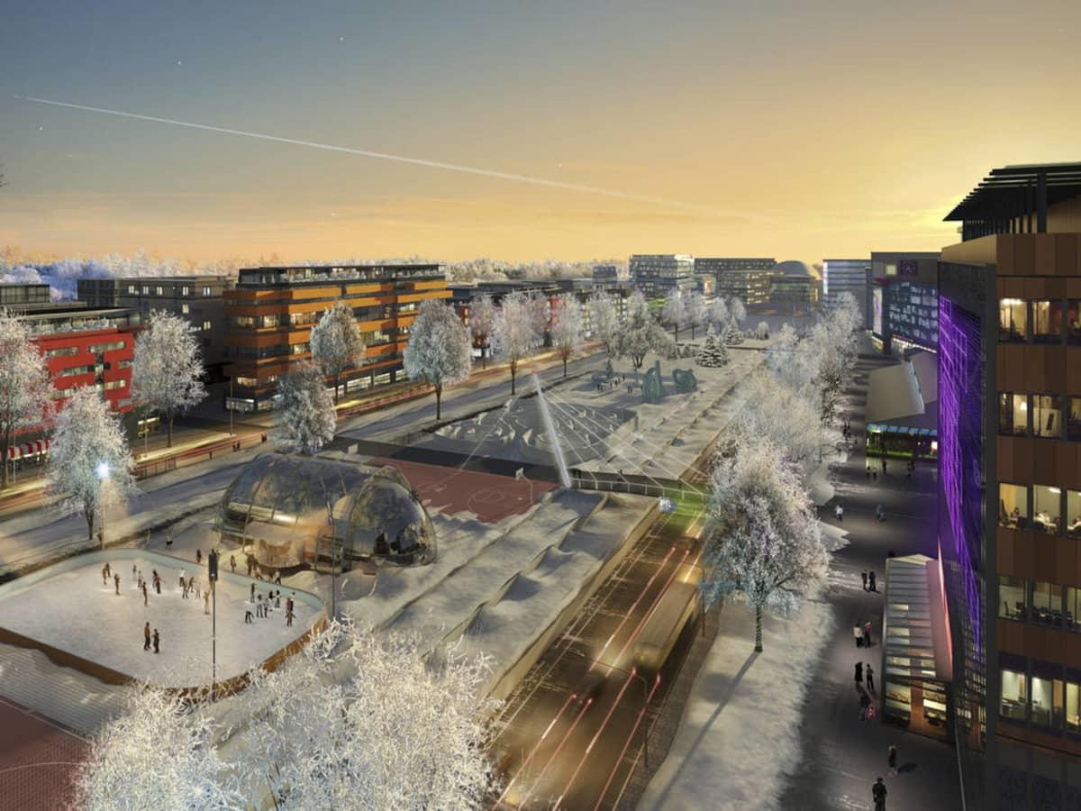 Kuvitelma Hämeenlinnanväylästä kaupunkibulevardiksi muutettuna vuonna 2050