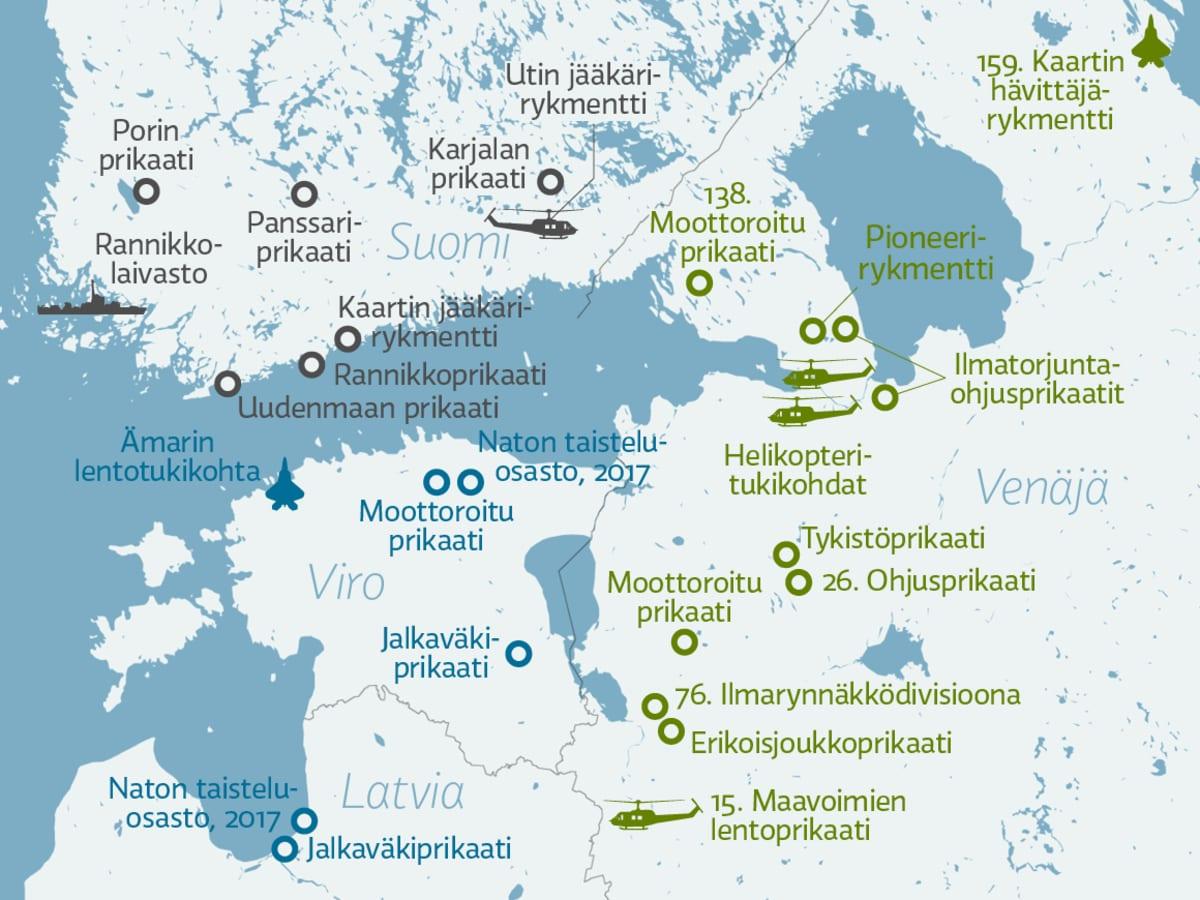 Suomenlahden ja lähialueen merkittävät joukko-osastot.