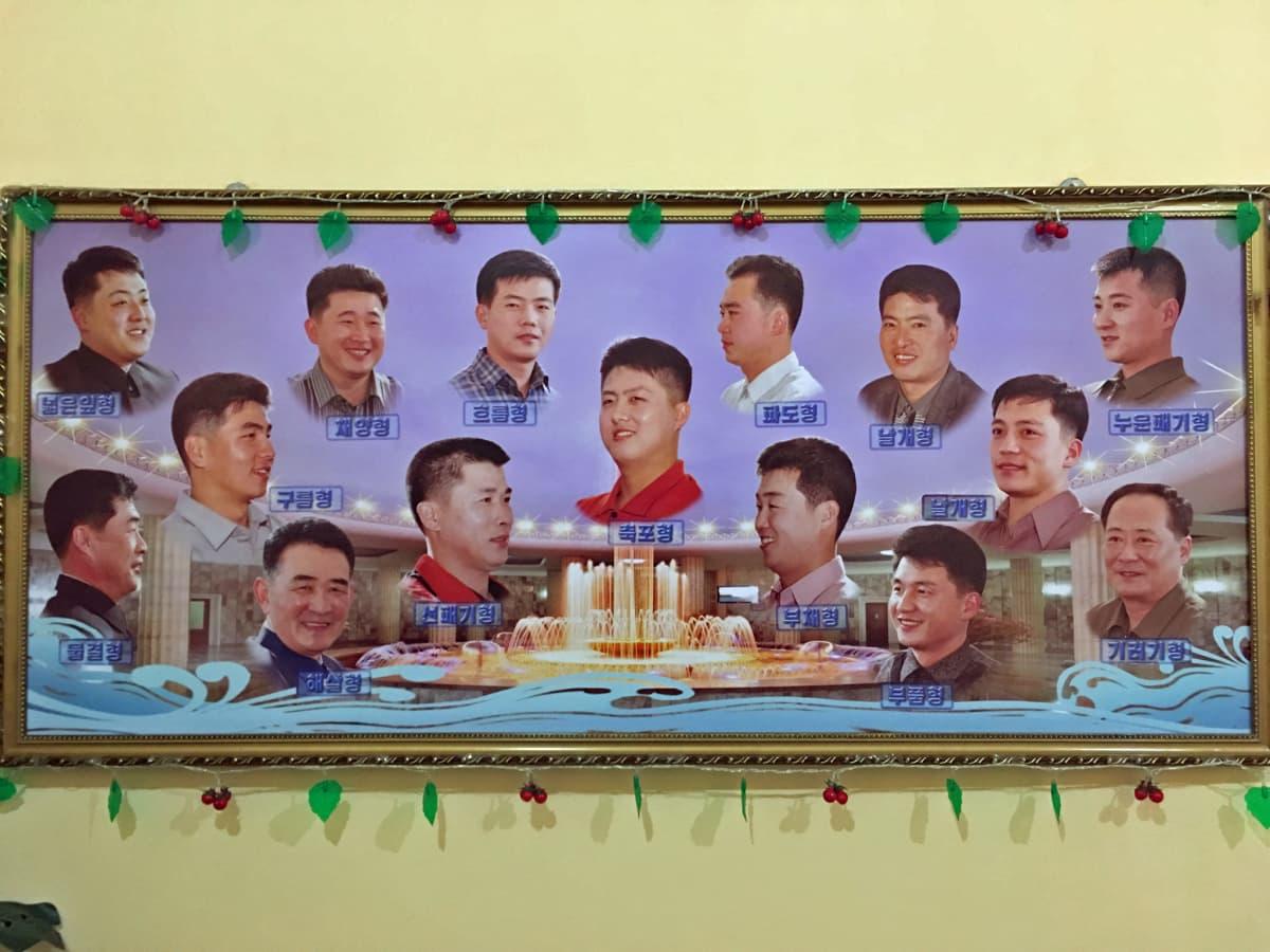 Changgwangin hoitolaitoksen parturissa miehet valitsevat 15 eri hiustyylistä mieleisen.